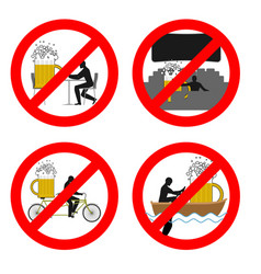 Forbidden to drink alcohol in public places stop vector