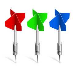 Three colorful darts on white background for vector