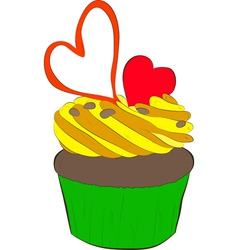 Cupcake with whipped cream and hearts vector