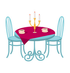 Served table in the restaurant furniture single vector
