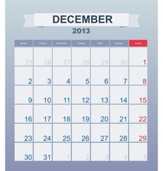 Calendar to schedule monthly december 2013 vector