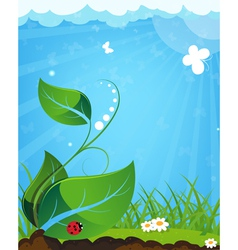 Young plant and ladybug vector