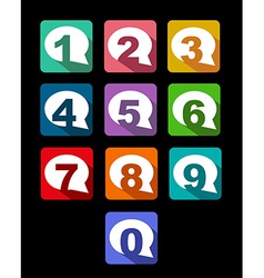 Flat icons bubble conversation numbers with long vector