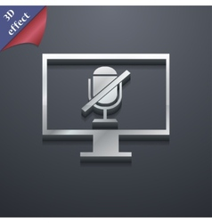 No microphone icon symbol 3d style trendy modern vector