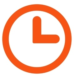 Clock flat orange color icon vector
