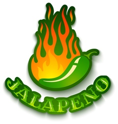 Jalapeno in fire isolated vector