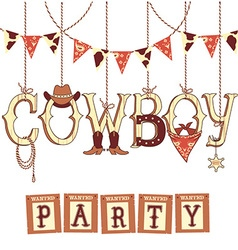 Cowboy western party text symbols isolated on vector