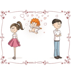 Couple finding love with cupid cartoon vector