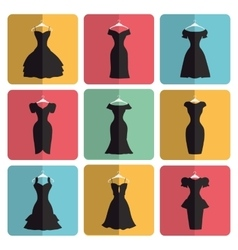 Silhouette of little black party dresses icons vector