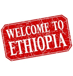 Welcome to ethiopia red square grunge stamp vector