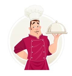 Chief cook with tray for food vector