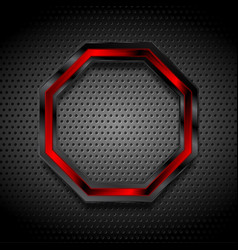 Black and red octagon on perforated metallic vector