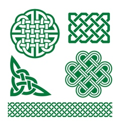 Celtic green knots braids and patterns - st patri vector