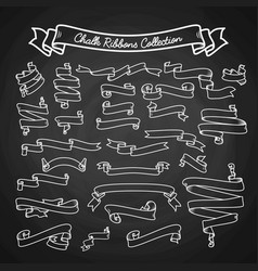 chalk ribbons collection hand draw on black board vector image vector image