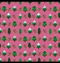 Christmas theme pinetree and reindeer seamless vector