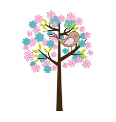 Color silhouette with floral tree and bird vector