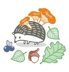Cute hedgehog with mushrooms vector