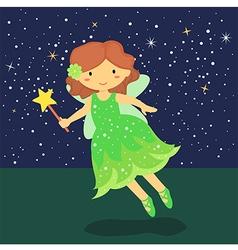 Cute little green fairy vector