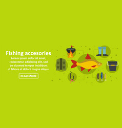 Fishing accesories banner horizontal concept vector