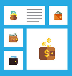 flat icon billfold set of payment money wallet vector image vector image