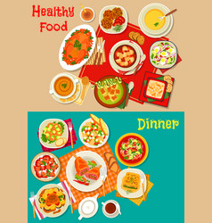 fresh salad soup and meat dishes icon set design vector image