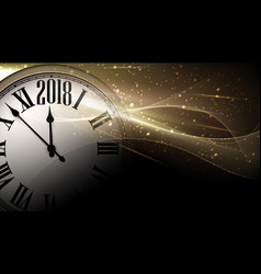 Golden 2018 new year clock background vector