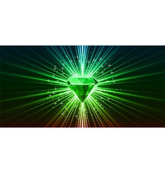 Green crystal background with stars vector image vector image