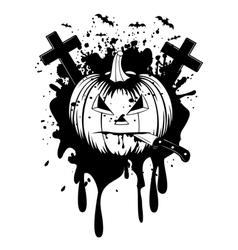 halloween pumpkin with knife vector image vector image
