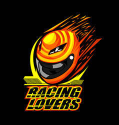 helmet racing design vector image vector image