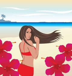 Hot bikini girl on beach vector