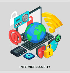 internet security isometric design concept vector image vector image