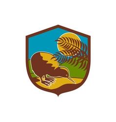 Kiwi bird moon fern mountain shield retro vector