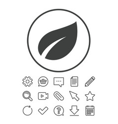 leaf sign icon fresh product symbol vector image