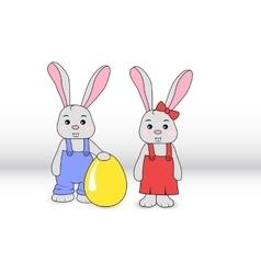 Rabbits boy and girl vector image vector image