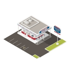 Roadside american diner isometric icons set vector