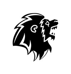 Roaring lion head silhouette vector
