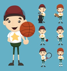 Set of boy and sport vector image
