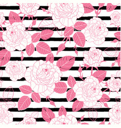 vintage pink roses and leaves on black vector image vector image