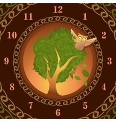 Watch of owl on oak vector image vector image
