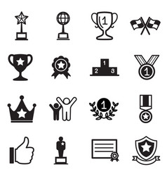 Win and success icons set vector