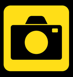 Yellow black information sign - camera icon vector
