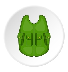 Green hunter vest icon cartoon style vector