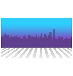 City skyline and zebra crossing in foreground vector