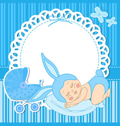 Card with baby boy born in bunny costume vector