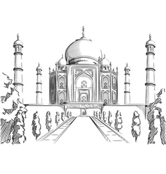 Sketch of india landmark taj mahal vector
