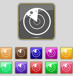 Radar icon sign set with eleven colored buttons vector