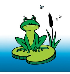 Drawing frog and mosquitos vector