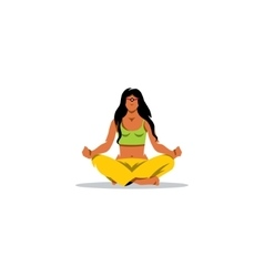 Meditation sign beautiful girl in a lotus vector