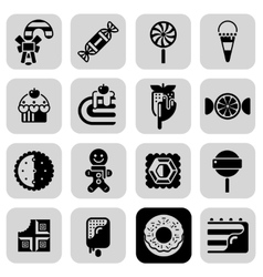 Sweets black white icons set vector