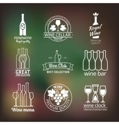 Wine club and restaurant labels set vector
